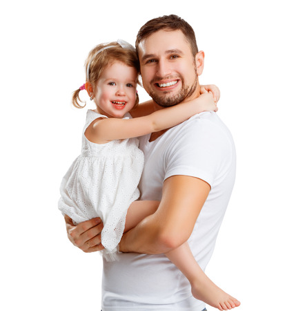 father daughter: happy family and fathers day. child daughter  hugging dad Stock Photo