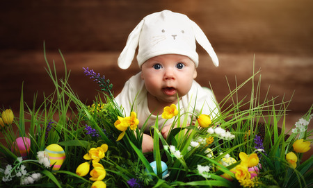 happy child baby dressed as the Easter bunny rabbit lying on the grass on the lawn with flowers Stock Photo