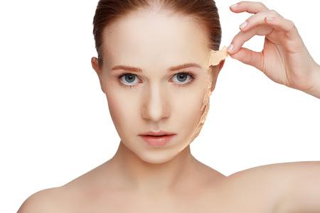 美容概念の若返り、リニューアル、スキンケア、皮膚の問題