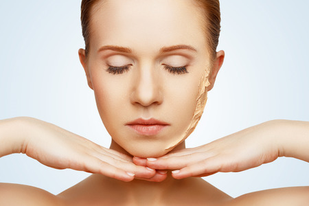 pretty face: beauty concept rejuvenation, renewal, skin care and skin problems