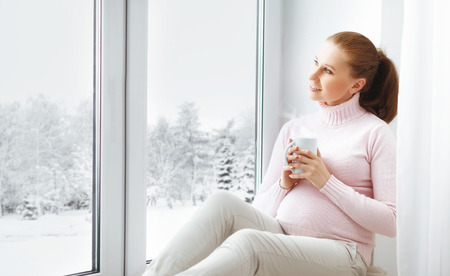 embarazada feliz: Feliz joven embarazada con una taza de té en una ventana de invierno
