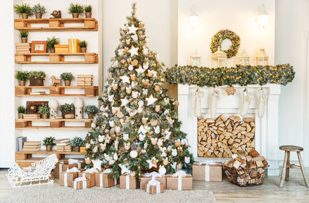 Christmas decor. Christmas tree decorations and holiday homes