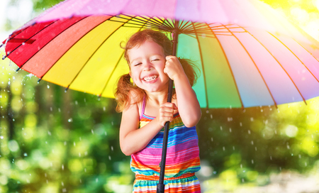 Happy child girl laughs and plays under the summer rain with an umbrella