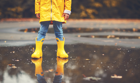 legs of child in yellow rubber boots in a puddle in autumn