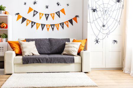 interior of   house decorated for a holiday halloween