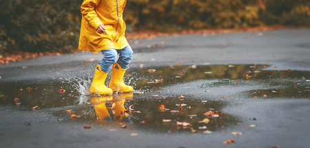 legs of child in yellow rubber boots in a puddle in autumn  Stock Photo