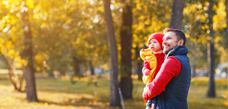 happy family father and baby son  playing and laughing on   autumn walk Stock Photo - 86088209
