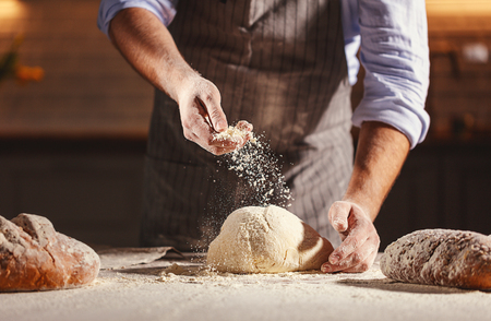 hands of the baker's male knead dough 스톡 콘텐츠