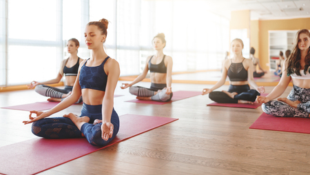 A group of people engaged in yoga class meditate in Lotus position 写真素材