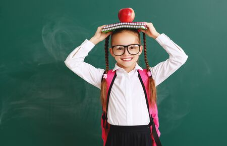 funny happy child   schoolgirl girl student about school blackboard