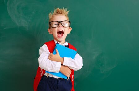 funny happy child   schoolboy  boy student about school blackboard Stok Fotoğraf