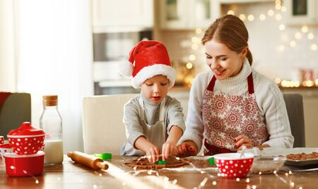 happy funny mother and child  son bake christmas cookies  스톡 콘텐츠