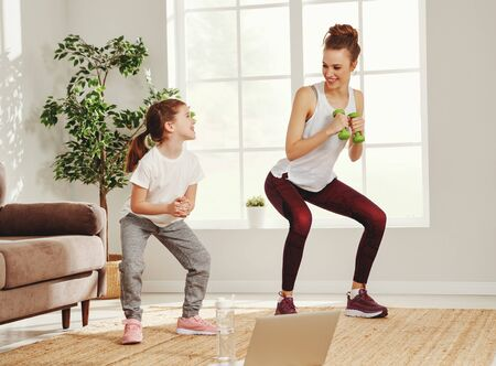 Cheerful fit female with dumbbells and little daughter doing squat exercises while training together in front of laptop in modern apartment Reklamní fotografie