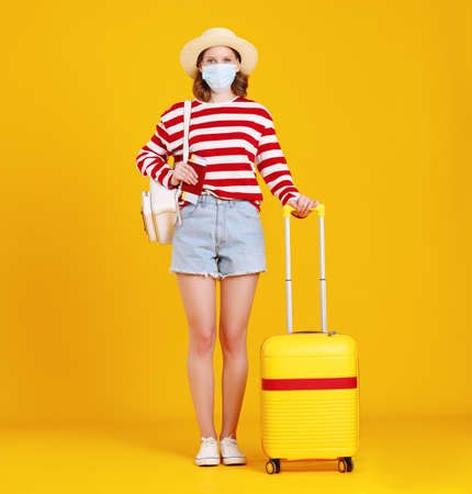 Full body of unrecognizable young female traveler in casual clothes and face mask standing against yellow with suitcase and looking at camera