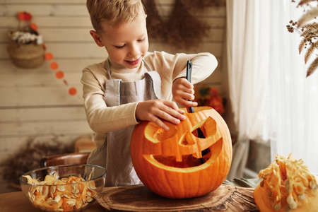 Cute little boy in apron scooping out all pulp from large orange pumpkin while carving classic traditional jack-o-lantern with scary face for Halloween celebration with family