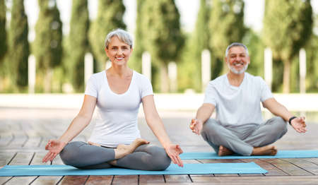 Calm elderly retired family couple practicing yoga outside happy husband and wife sitting on mats barefoot in lotus position and keeping hands in mudra gesture. Meditation and mental health 写真素材