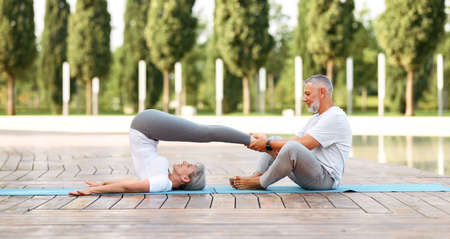 Side view of fit elderly family couple performing partner yoga on fresh air outside in sunny morning, senior man and woman wife practicing Halasana while exercising together on fitness mat in city park