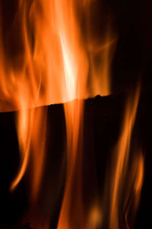 Flames in a fireplace in anybody house at cold weather Stock Photo - 611381