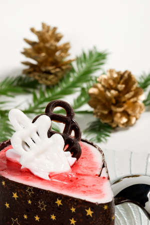Delicious raspberry souffle cake on Christmass morning photo