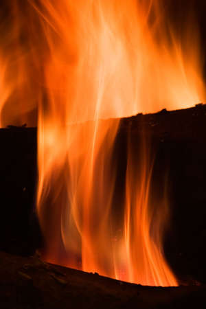 Flames in a fireplace in anybody house at cold weather Stock Photo - 735801