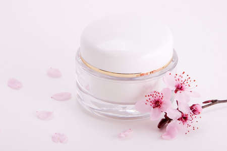 cremas faciales: De cerca del contenedor de cara crema hidratante y florecimiento ramita de ciruela sobre fondo blanco con peque�os p�talos de rosa en torno a
