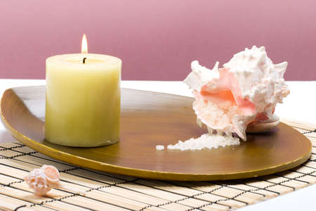 Aroma therapy with candle and seashells, suited for spa and healthy lifestyle usage. Stock Photo - 845406