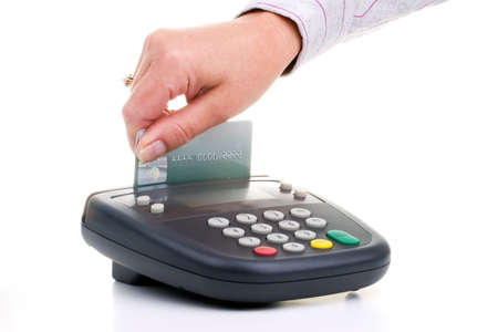 swipe: Customer swipe credit card on pin pad card reader over white background Stock Photo