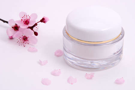 soften: Closeup of container of moisturizing face cream and blooming twig of plum on white background with small pink petals around  Stock Photo