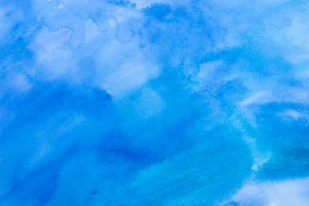 ink stain: Wet on wet watercolor abstract background, blue Stock Photo