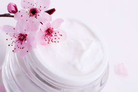 Extreme closeup of open container of moisturizing face cream and blooming twig of plum Stock Photo - 1050522