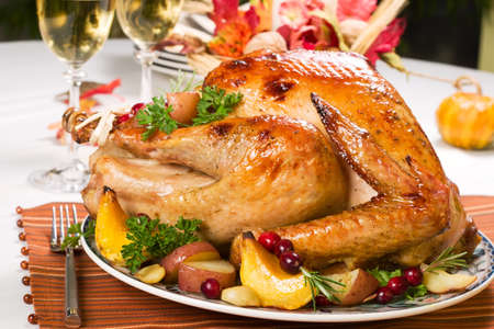 ready to eat: Feasting backed turkey on holiday table ready to eat
