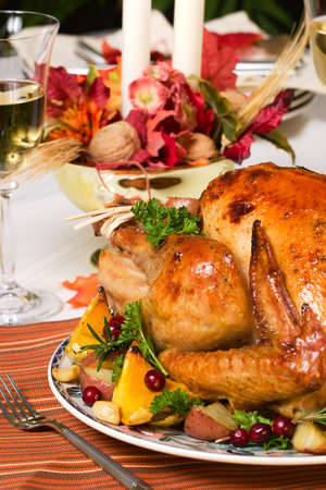 feasting: Feasting backed turkey on holiday table ready to eat