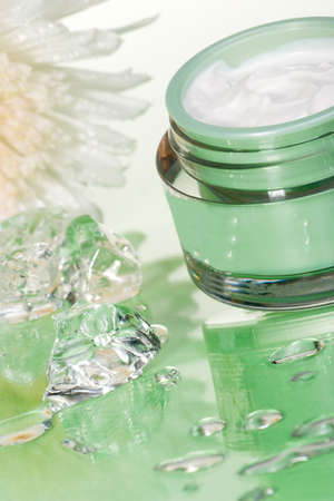 Closeup of container of moisturizing face cream and white chrysanthemum on green toned background with ice cubes Stock Photo