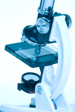 Single microscope suited for any medical concepts. Blue toned. Stock Photo - 1954722
