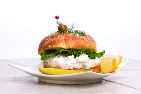 The rich-tasting, but low-calorie filling with shrimps delicious sandwich photo