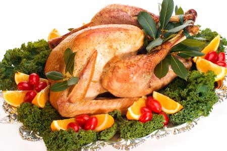 garnished: Garnished roasted turkey on platter over white background (studio isolated, not PS)
