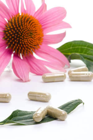 Closeup of Echinacea extract pills and fresh Echinacea flowers best suited for alternative medicine ads. Shalow DOF.