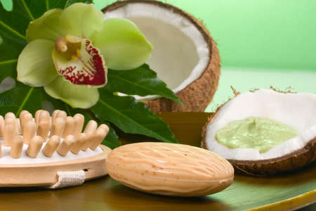 spirituality therapy: Avocado coconut scrub in coconut shell, orchid flower (Cymbidium sp.), soap and brush. Suited for relaxing and health commercials Stock Photo
