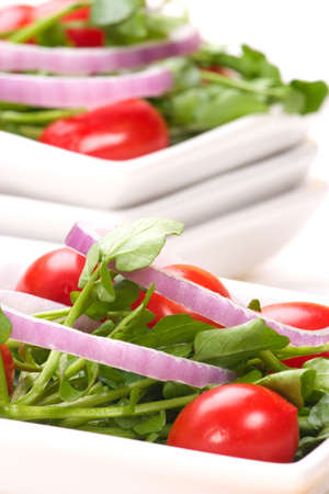Watercress salad with cherry tomatoes, sweet red onions and olive oil dressing photo