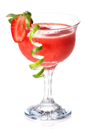Strawberry Daiquiri cocktails. Rum, strawberries, liqueur, lime juice garnished with strawberry and twist of lime. Most popular cocktails series. Stock Photo