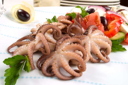 black octopus: Delicious cooked octopus in red wine dish and Greek salad