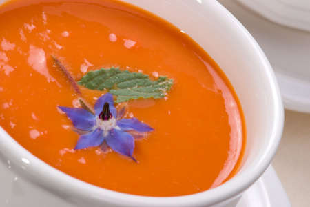 Closeup of bowls of delicious tomato soup garnished with cream and basil leaves photo