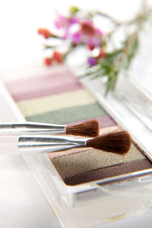 Eyeshadow makeup set closeup with brushes and flowers New Zealand tea tree photo