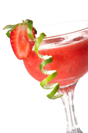 daiquiri alcohol: Strawberry Daiquiri cocktails. Rum, strawberries, liqueur, lime juice garnished with strawberry and twist of lime. Fresh strawberries and lime around. Most popular cocktails series.