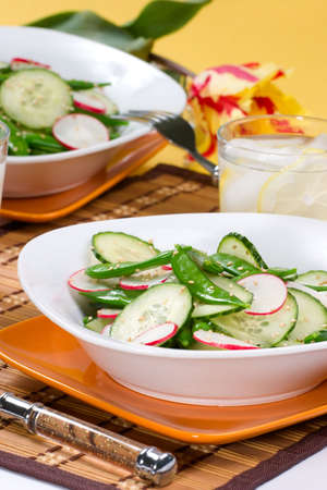 Closeup of plates with cucumber, radish and snow pea salad