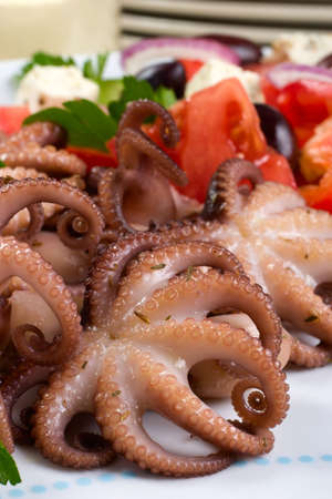 Delicious cooked octopus in red wine dish and Greek salad photo