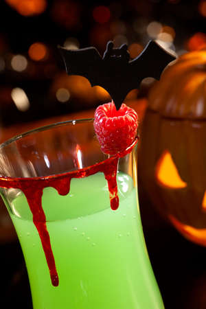 Closeup of Devil's Blood Cocktail, black vodka, cranberry juice - Halloween drinks series Stock Photo - 5651325