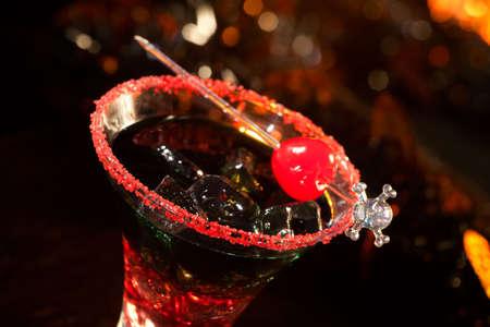 Closeup of Devil's Blood Cocktail, black vodka, cranberry juice - Halloween drinks series Stock Photo - 5693776
