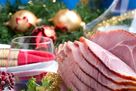 ham sandwich: Holiday table setting