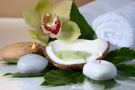 Avocado coconut scrub in coconut shell, orchid flower (Cymbidium sp.), tropical plant, soap and aroma candle. Suited for relaxing and health commercials